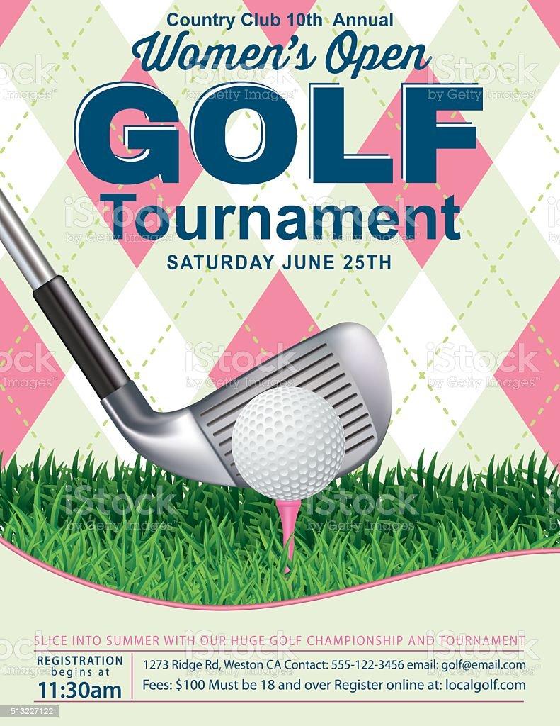 Argyle Women's Golf Tournament Template vector art illustration