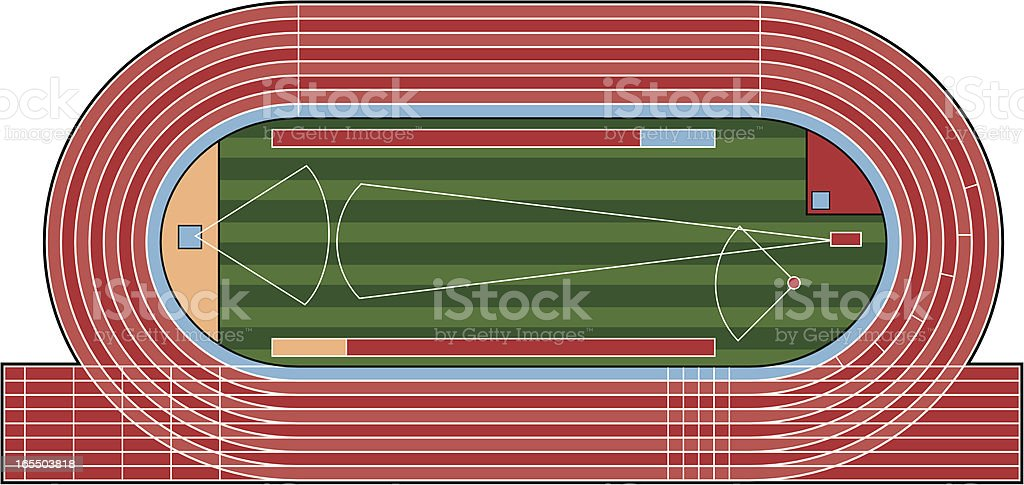 Ariel View of Athletic Track & Field vector art illustration