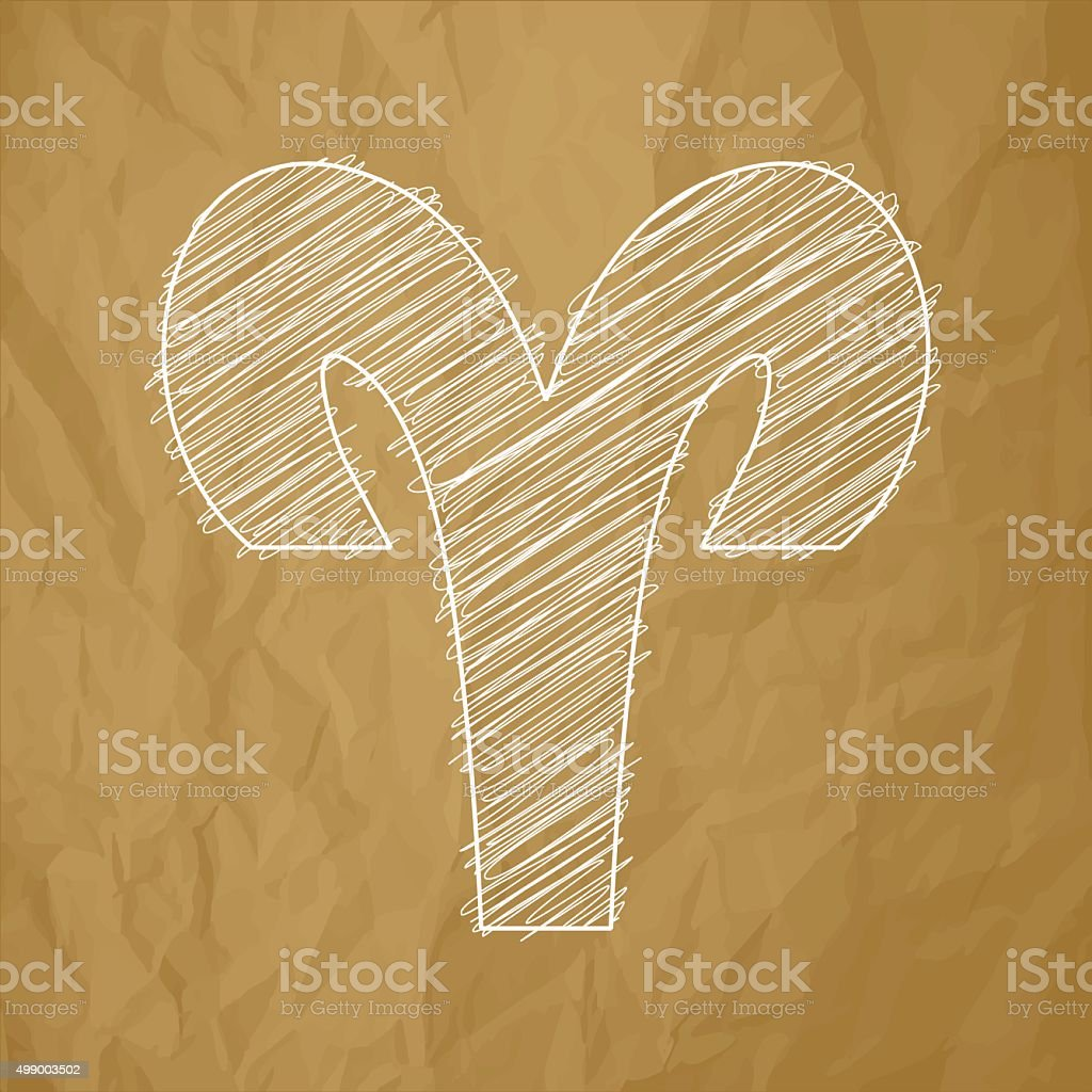 Aries HOROSCOPE SIGNS ZODIAC - Scribble on a brown background. vector art illustration