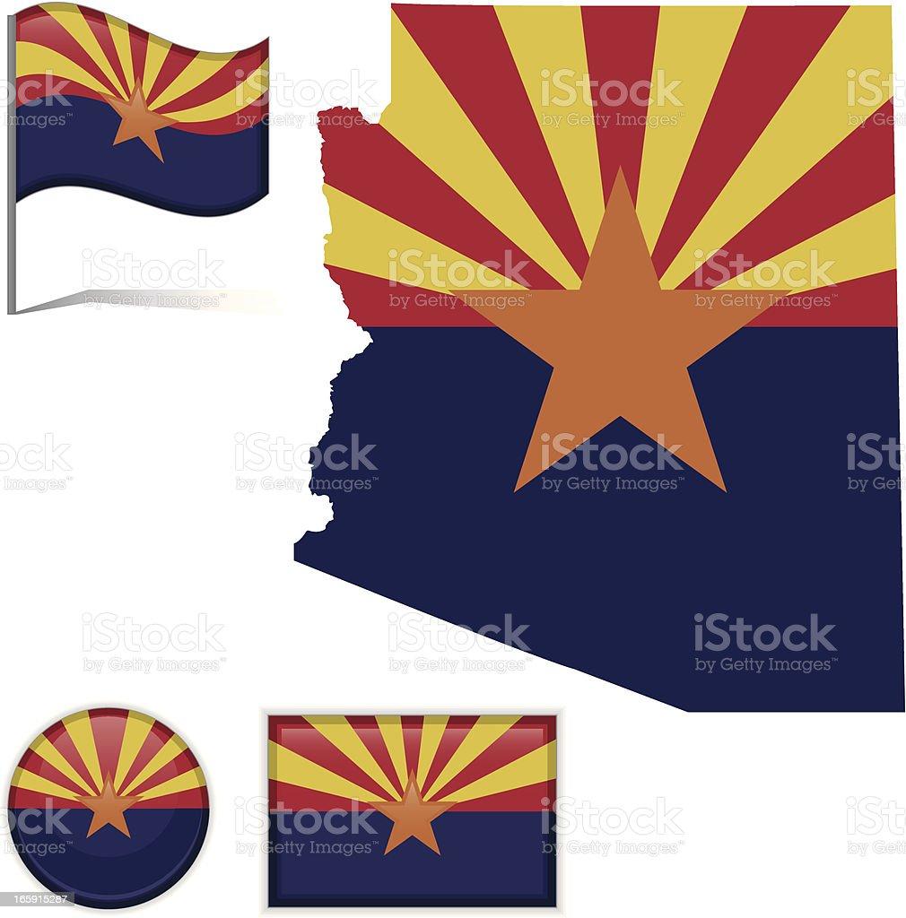 Arizon map & flag vector art illustration