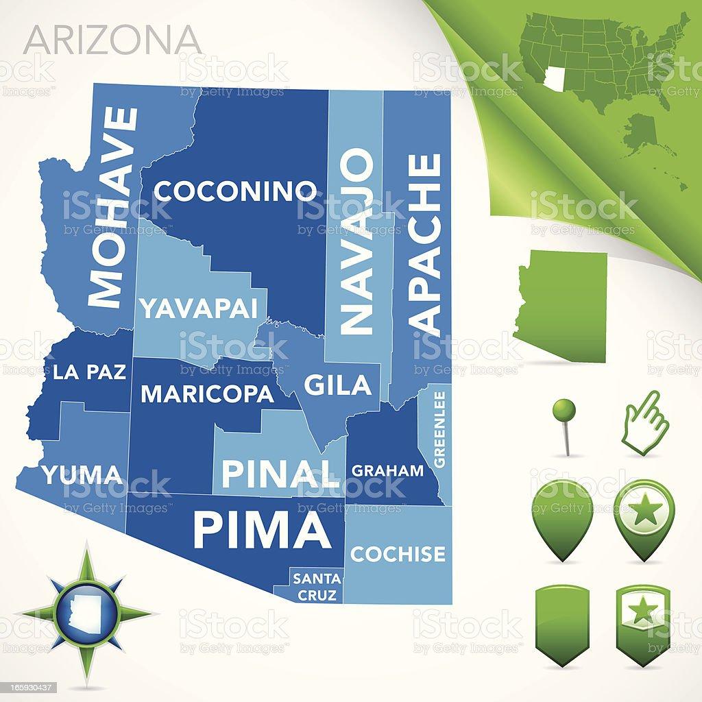 Arizona County Map royalty-free stock vector art