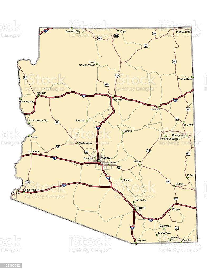 Arizona Highway Map vector art illustration