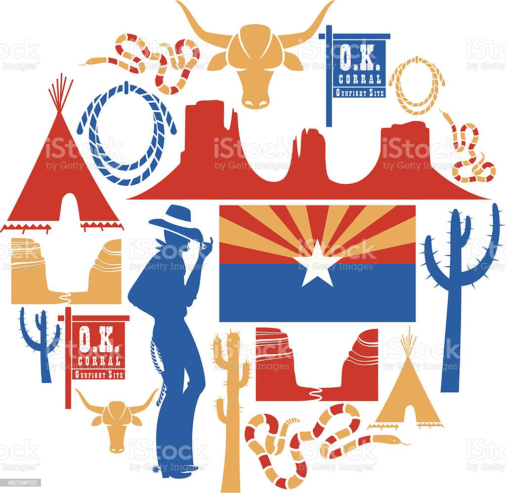 Arizona Icon set royalty-free stock vector art