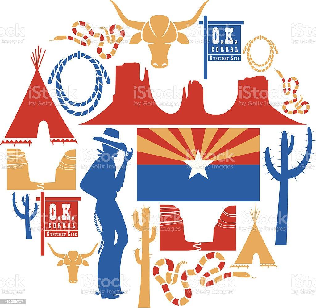 Arizona Icon set vector art illustration