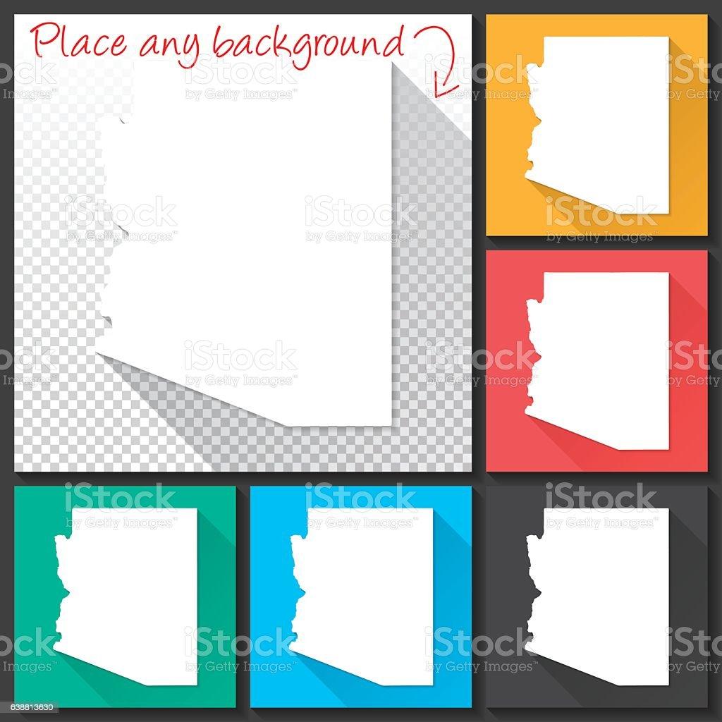 Arizona Map for design, Long Shadow, Flat Design vector art illustration