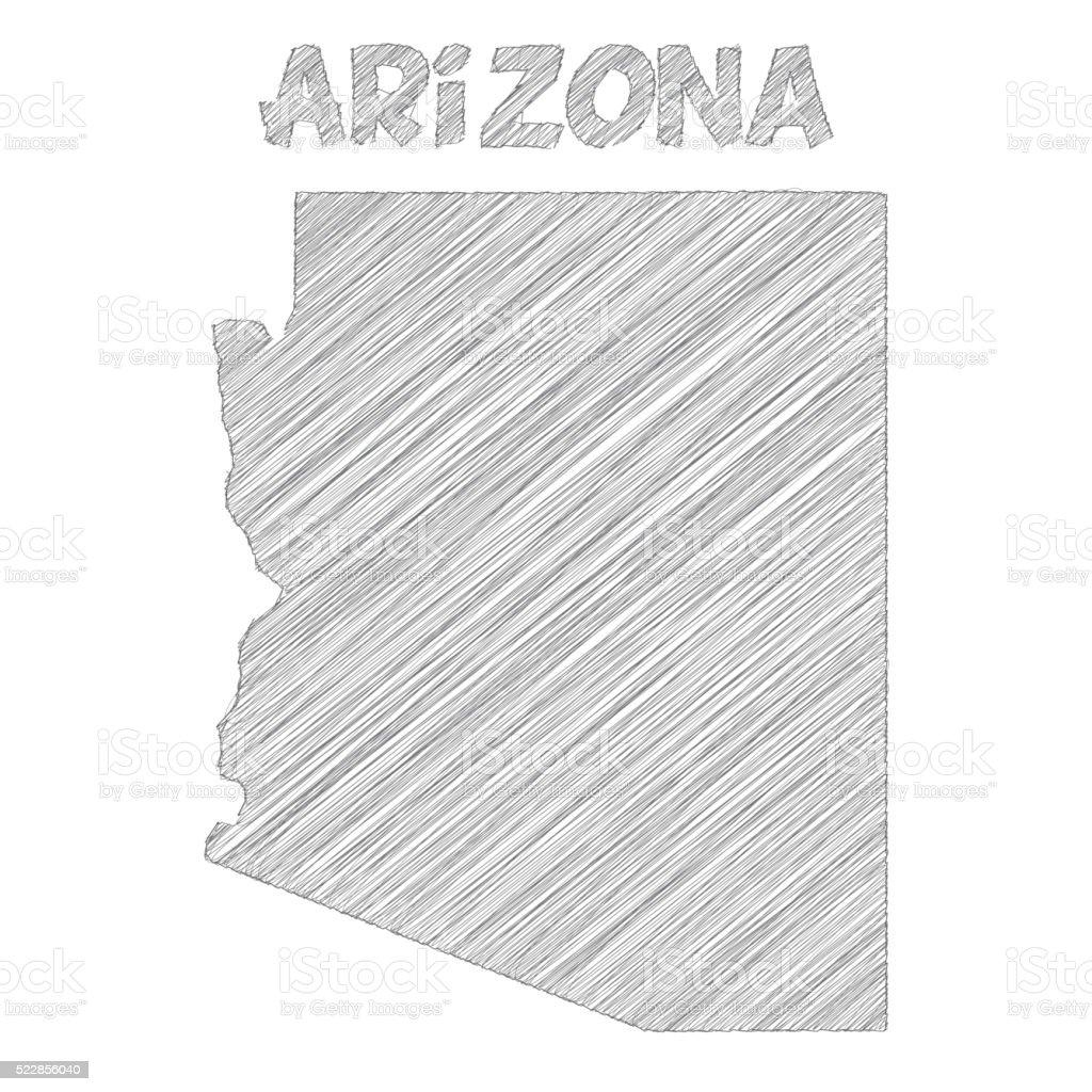 Arizona map hand drawn on white background vector art illustration