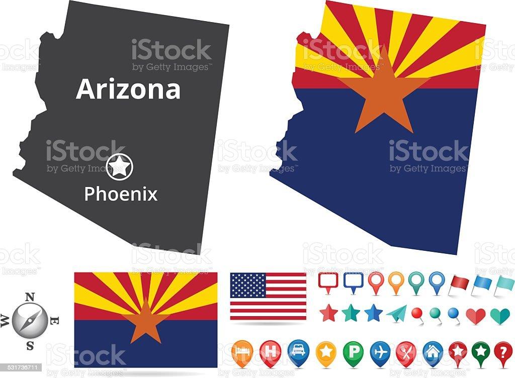 Arizona Map Kit vector art illustration