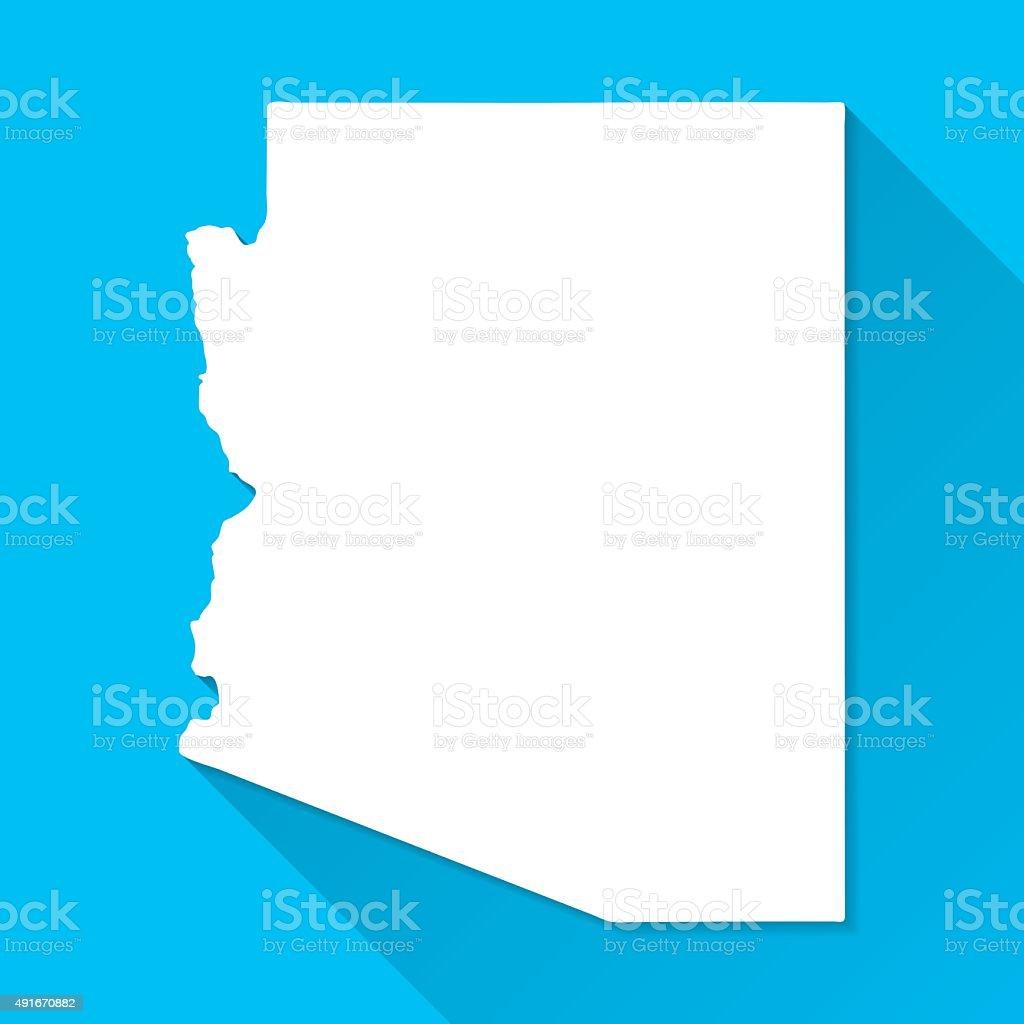 Arizona Map on Blue Background, Long Shadow, Flat Design vector art illustration