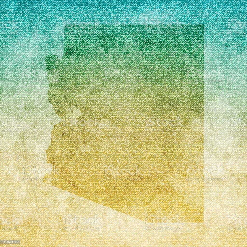 Arizona Map on grunge Canvas Background vector art illustration