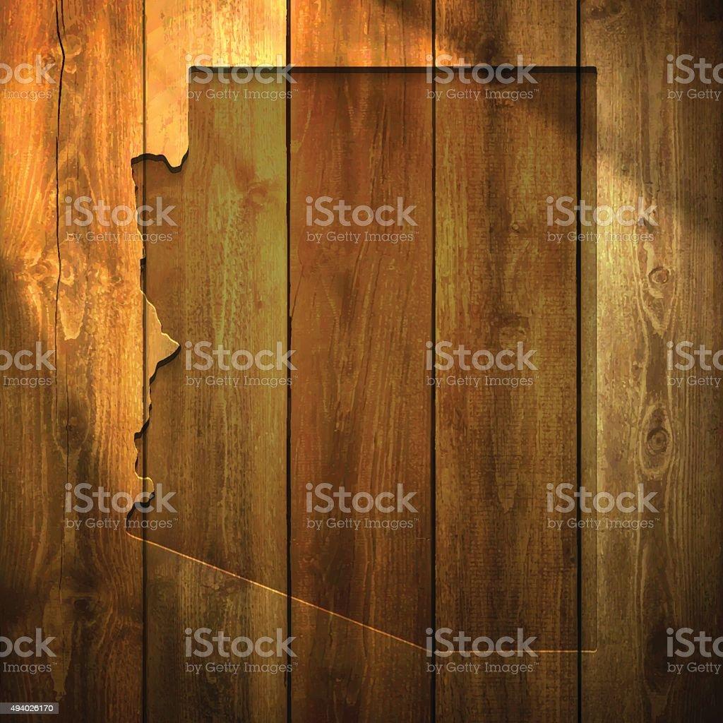 Arizona Map on lit Wooden Background vector art illustration