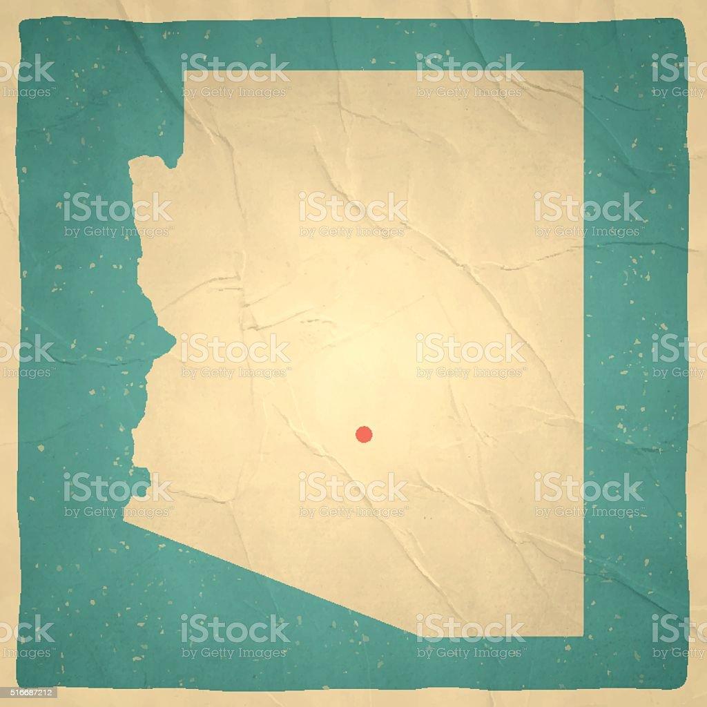 Arizona Map on old paper - vintage texture vector art illustration