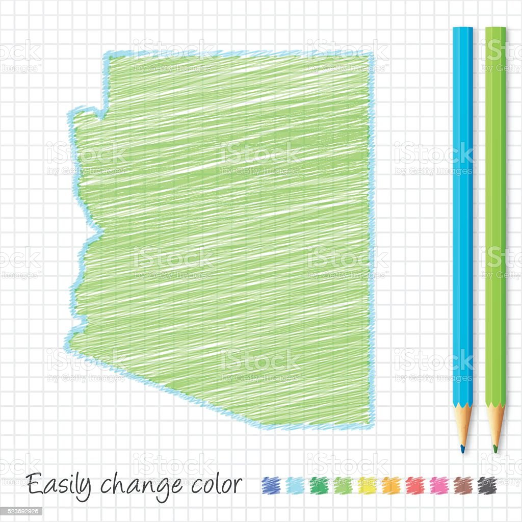 Arizona map sketch with color pencils, on grid paper vector art illustration