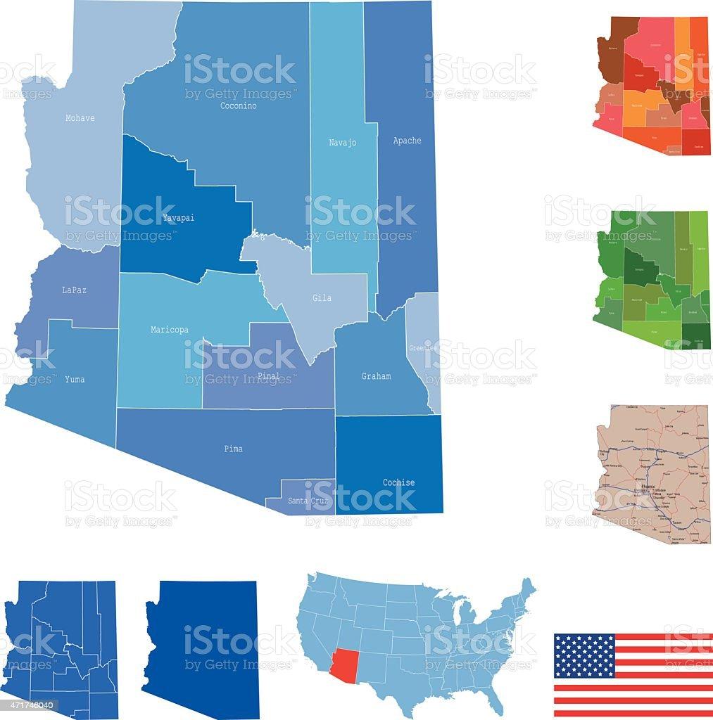 Arizona Map vector art illustration
