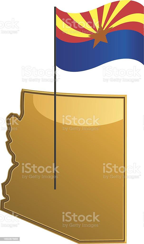 Arizona Map with Flag royalty-free stock vector art