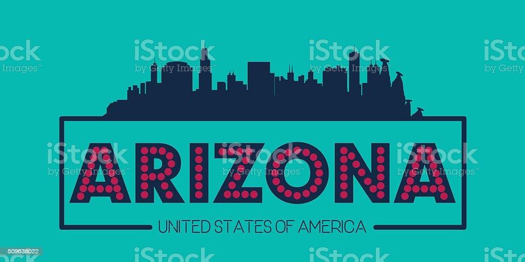 Arizona skyline silhouette poster vector vector art illustration