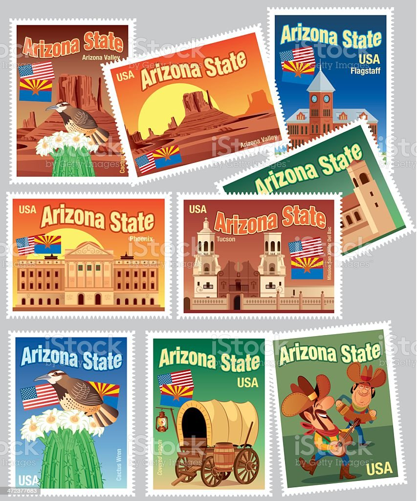 Arizona Stamps vector art illustration