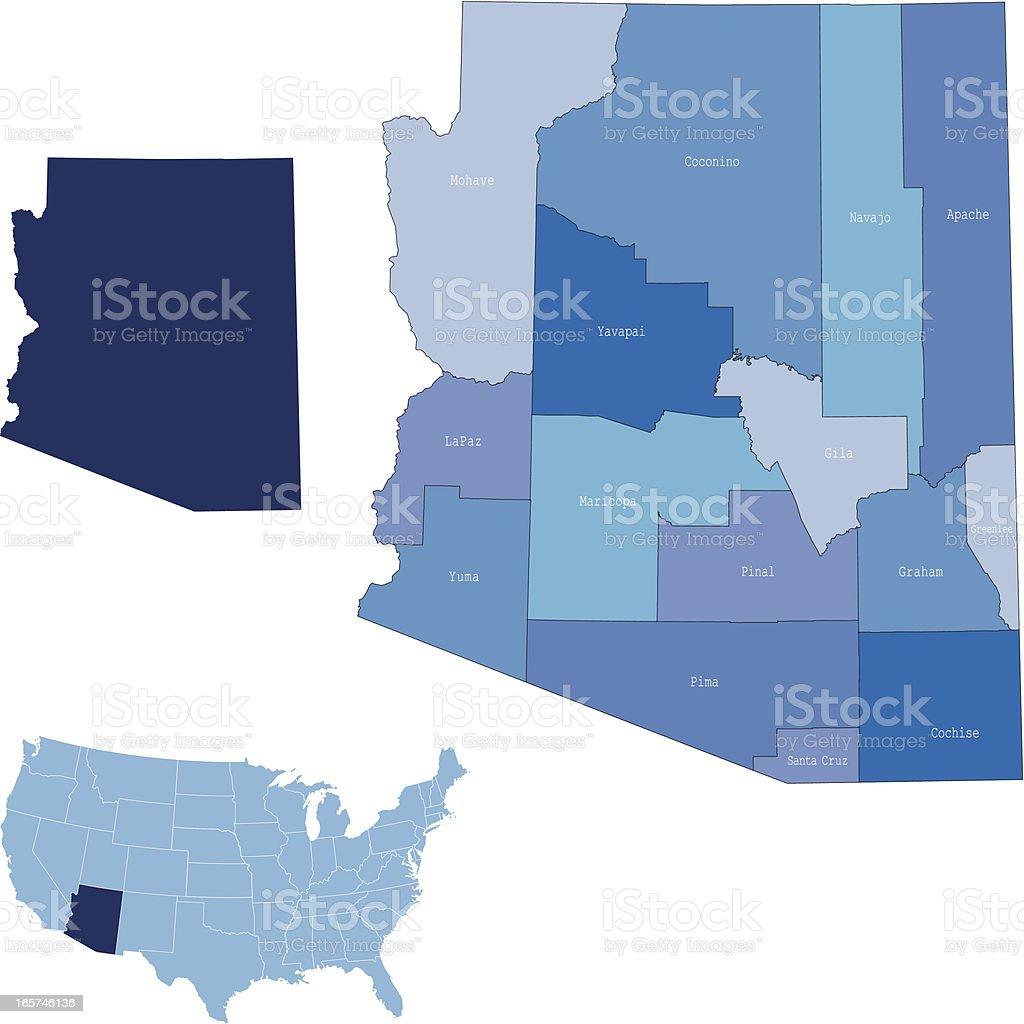 Arizona state & counties map royalty-free stock vector art