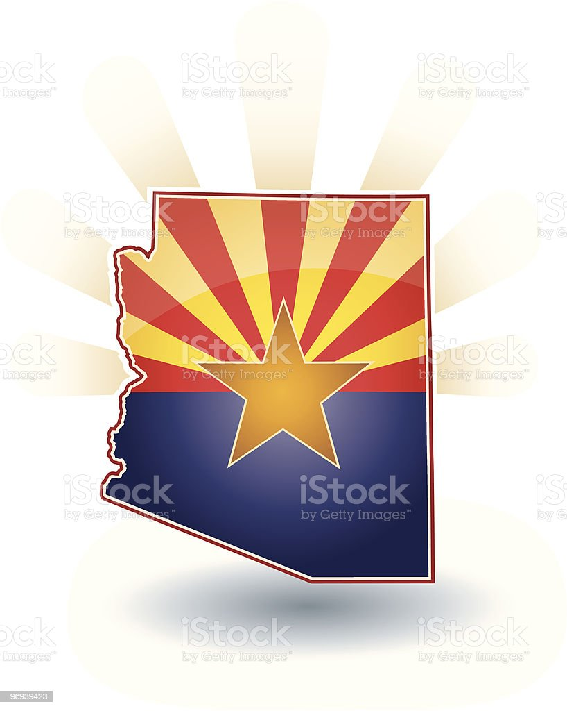 Arizona State with flag, sun beams and shadow royalty-free stock vector art