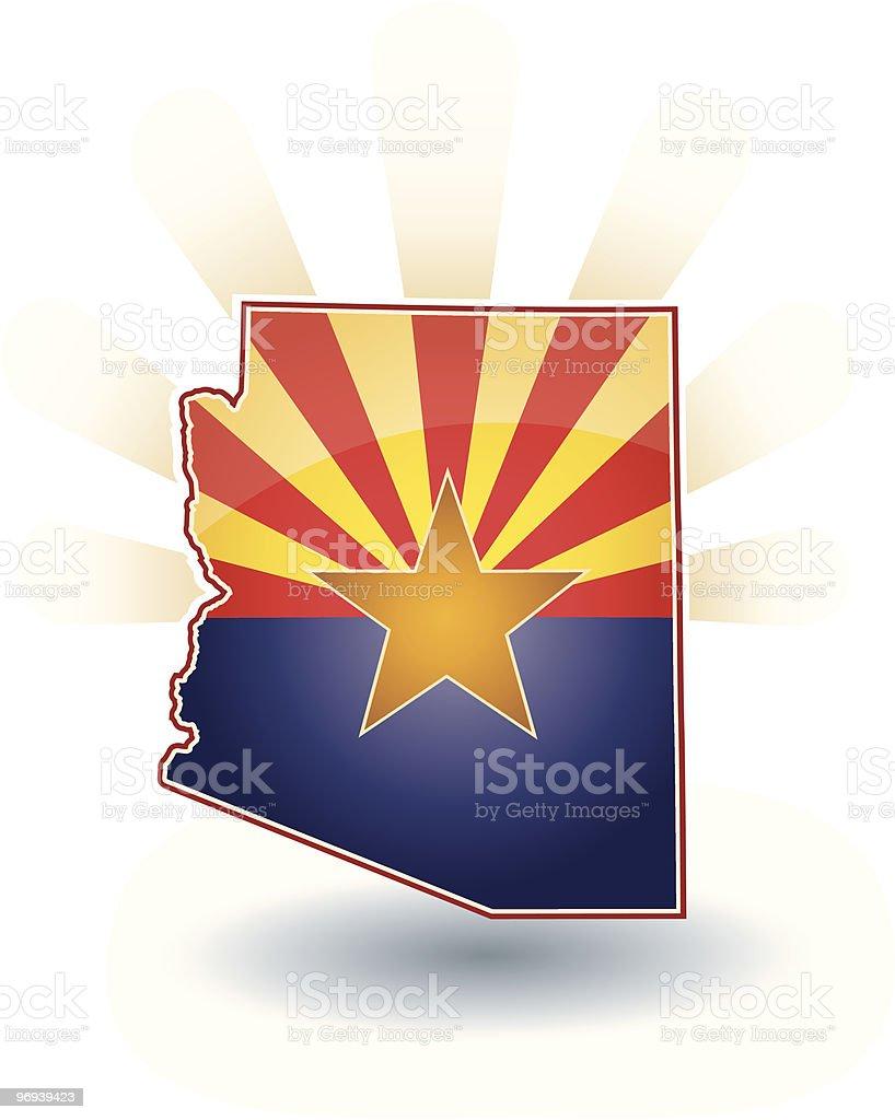 Arizona State with flag, sun beams and shadow vector art illustration