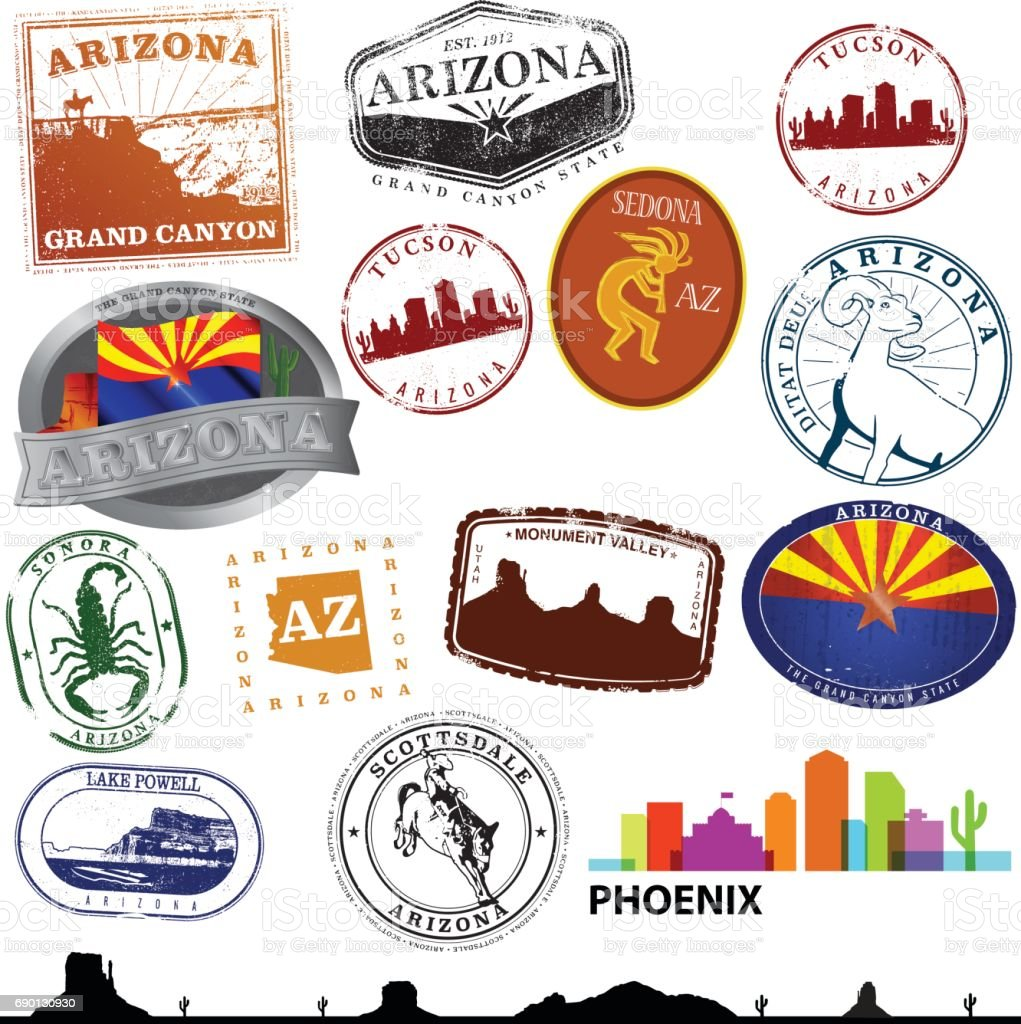 Arizona Travel Graphics vector art illustration