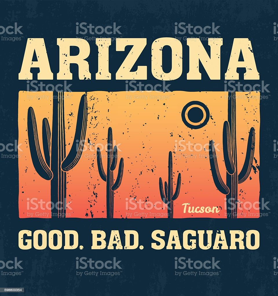 Arizona t-shirt design, print, typography, label with saguaro cactus vector art illustration