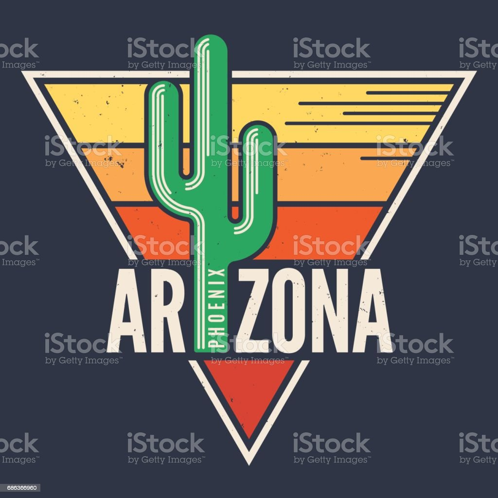 Arizona t-shirt design, print, typography, label with styled saguaro cactus. vector art illustration