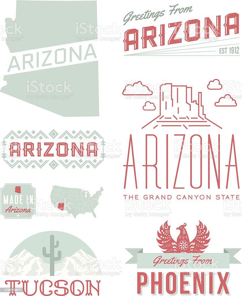 Arizona Typography vector art illustration
