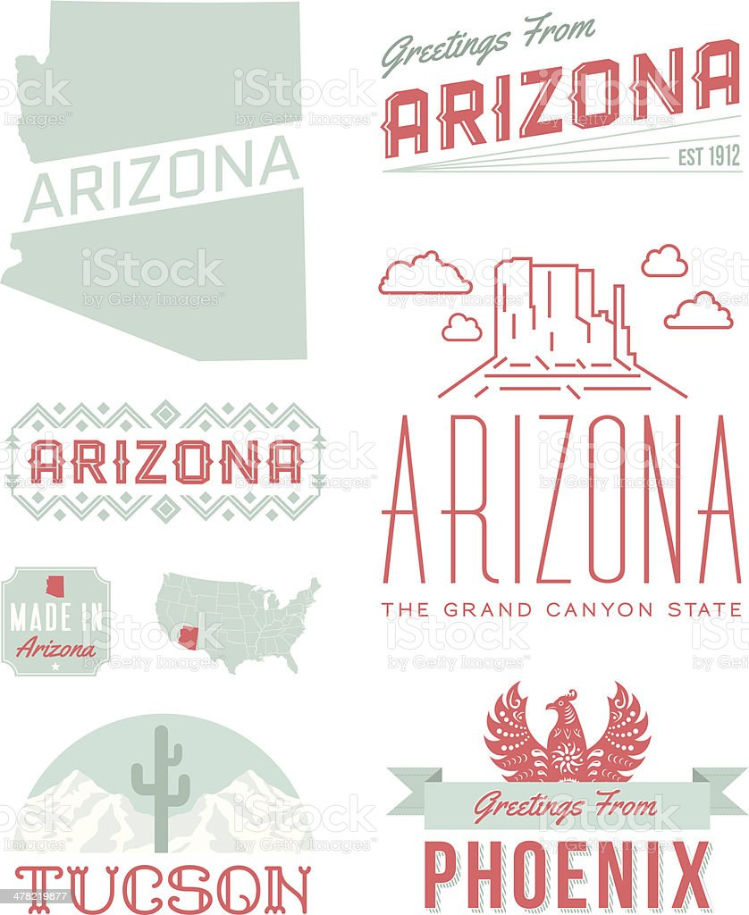 Arizona Typography vector art illustration