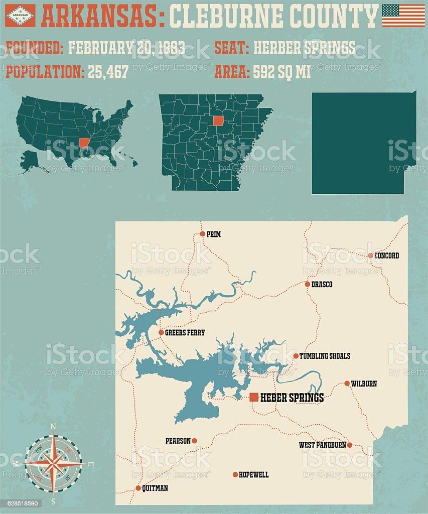 Arkansas: Cleburne County vector art illustration