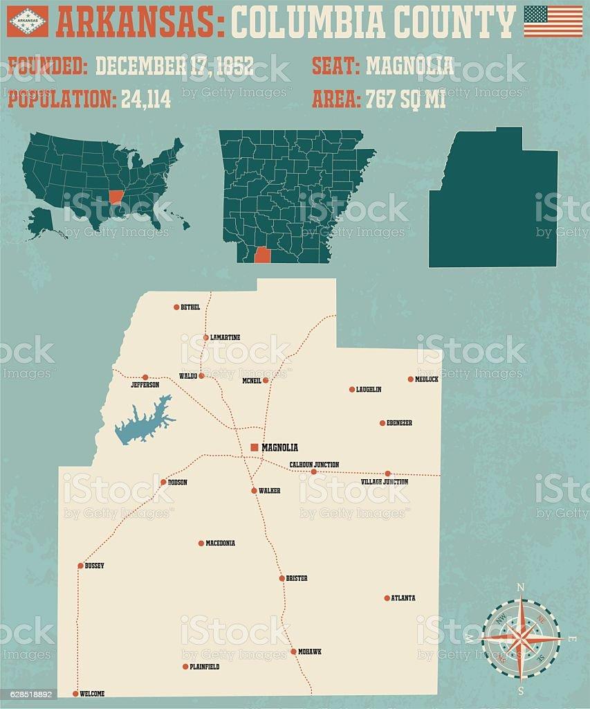 Arkansas: Columbia county vector art illustration