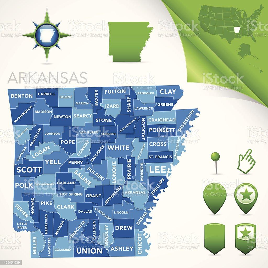 Arkansas County Map royalty-free stock vector art