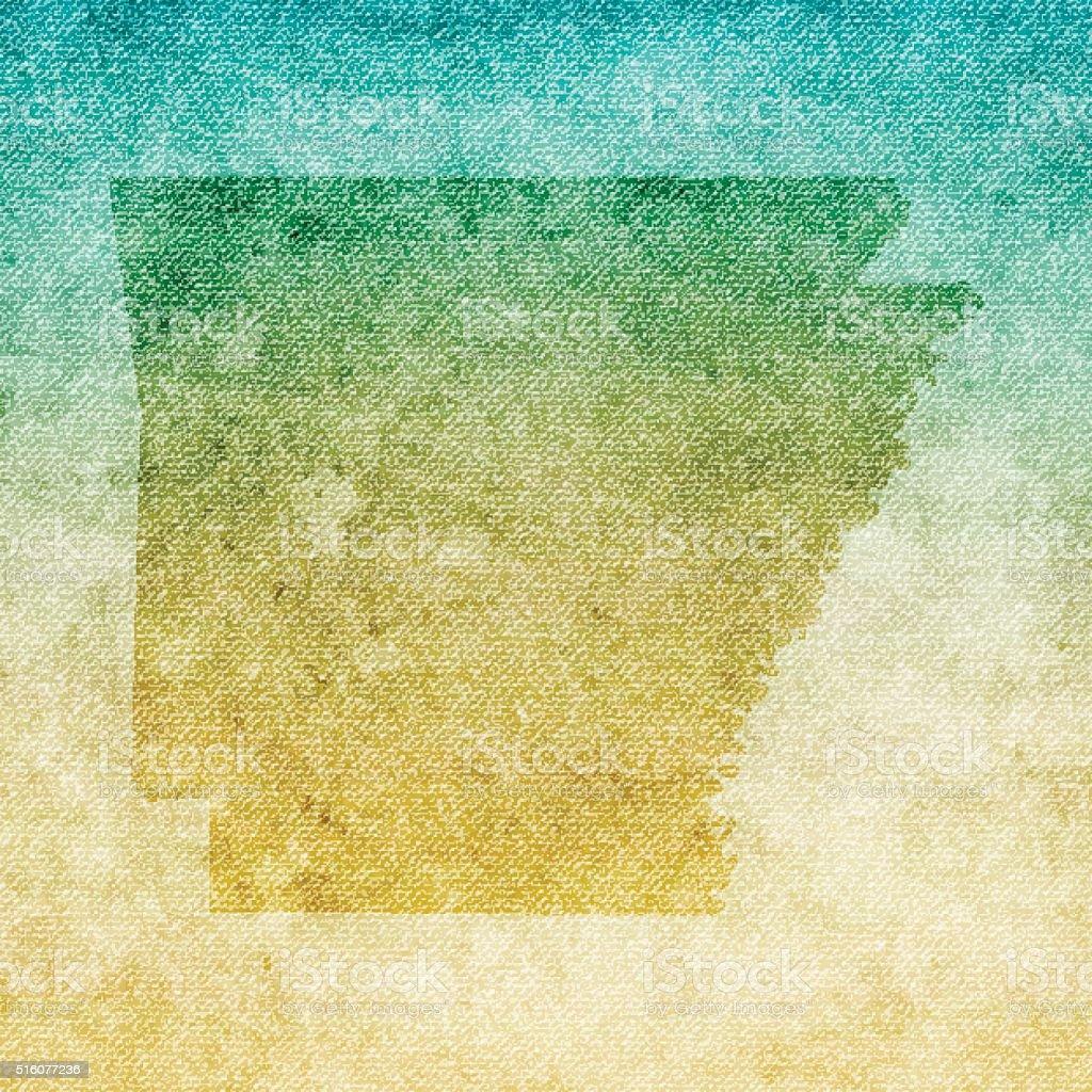 Arkansas Map on grunge Canvas Background vector art illustration