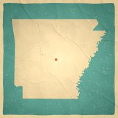 Arkansas Map on old paper - vintage texture