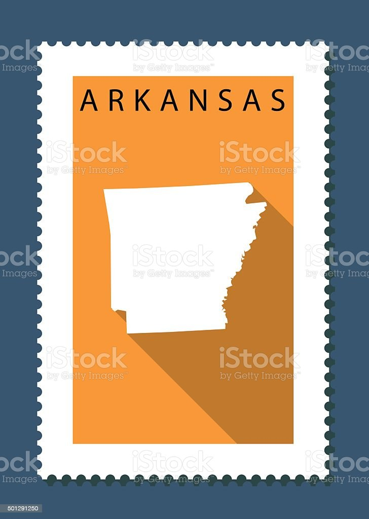 Arkansas Map on Orange Background, Long Shadow, Flat Design,stamp vector art illustration