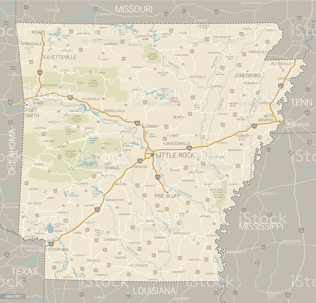 Arkansas Map vector art illustration