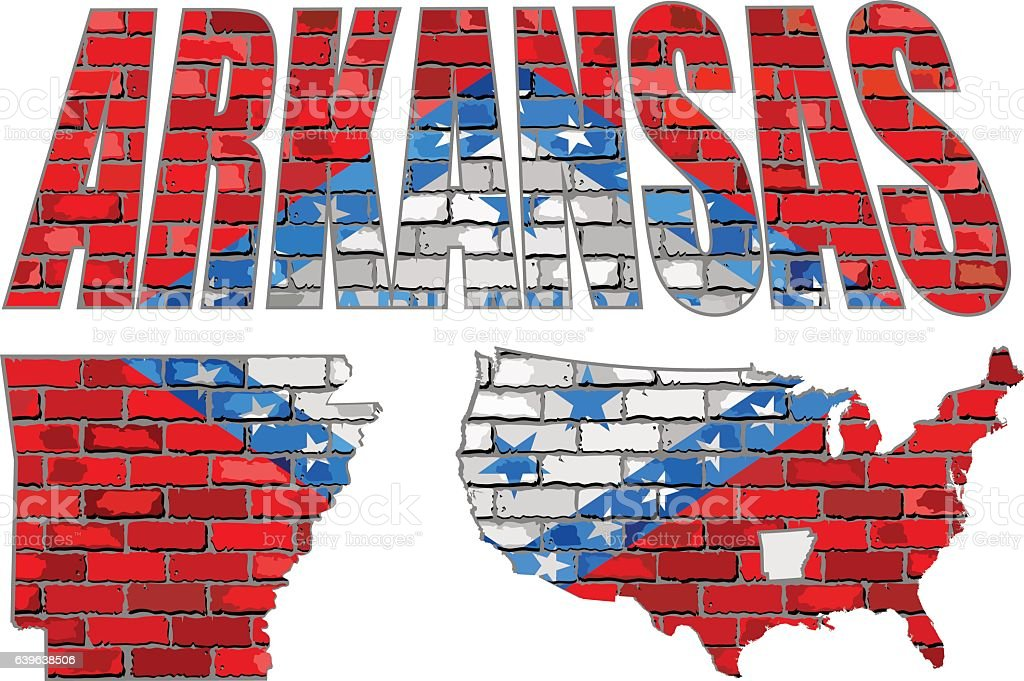 Arkansas on a brick wall vector art illustration