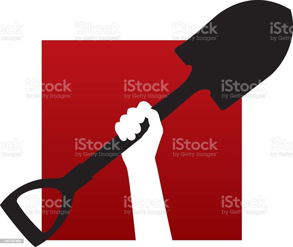 Arm Holding Shovel Icon vector art illustration