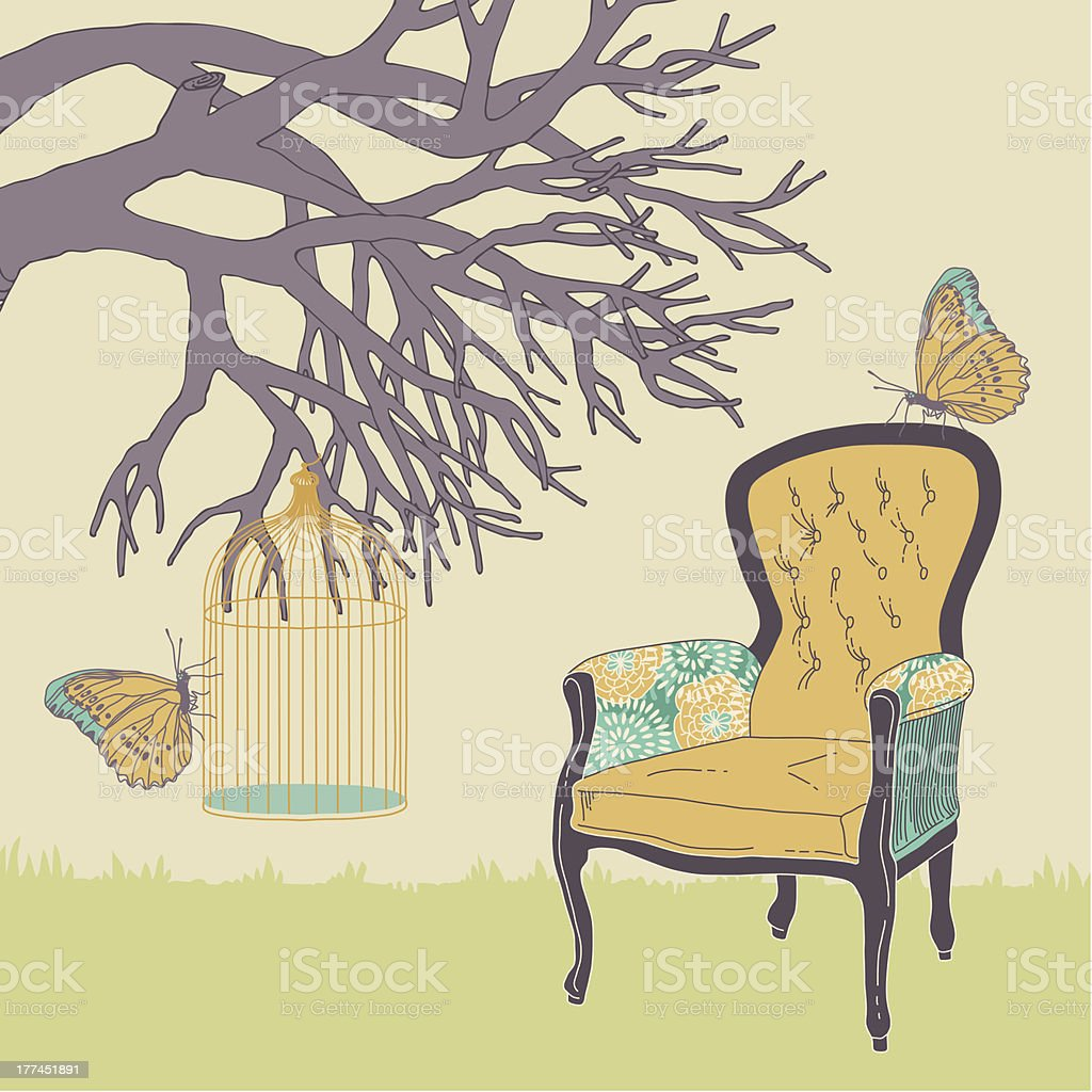 Armchair and Cage royalty-free stock vector art