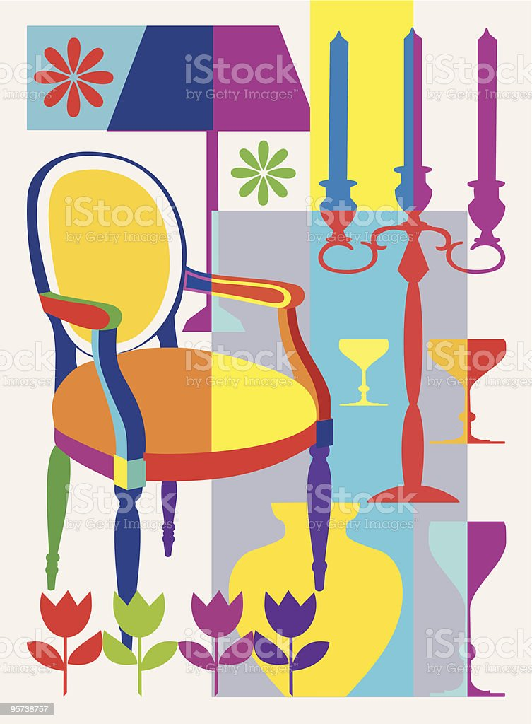 Armchair and home interior elements royalty-free stock vector art
