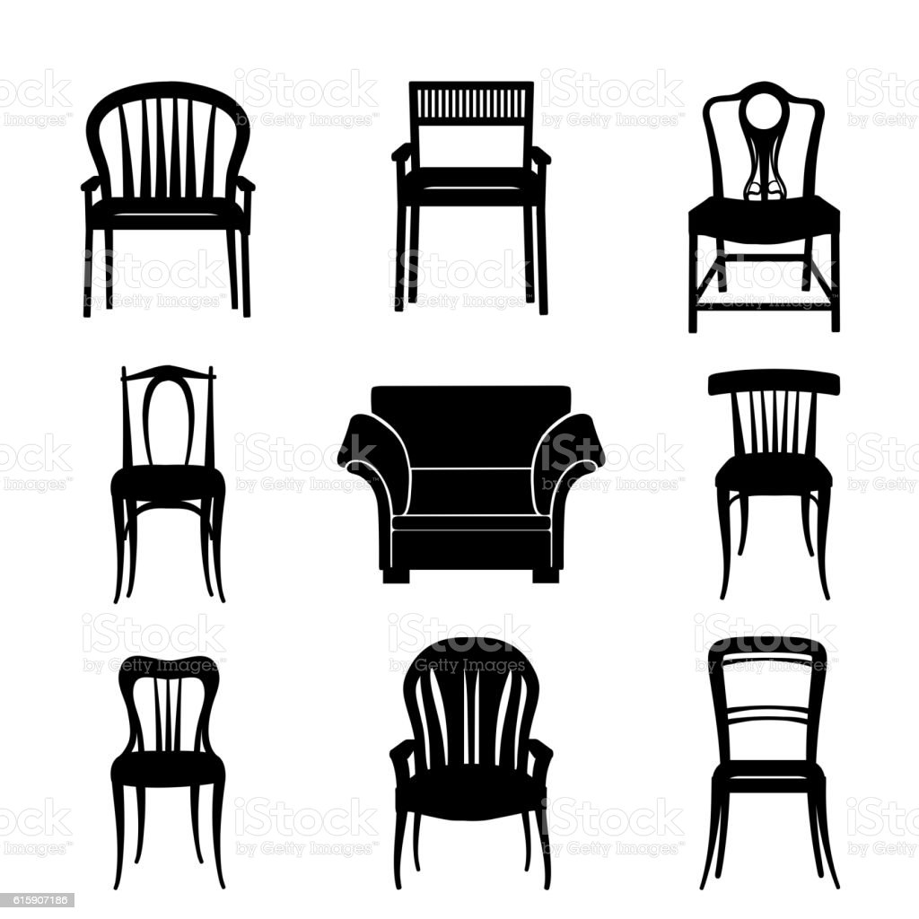 Armchair, chair set silhouette. Retro style Furniture seat collection vector art illustration