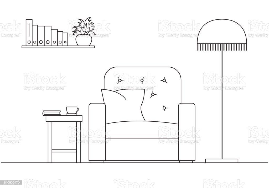 Sessel skizze  Sessel Neben Einer Stehlampe Regal Mit Büchern Bildern An Der Wand ...