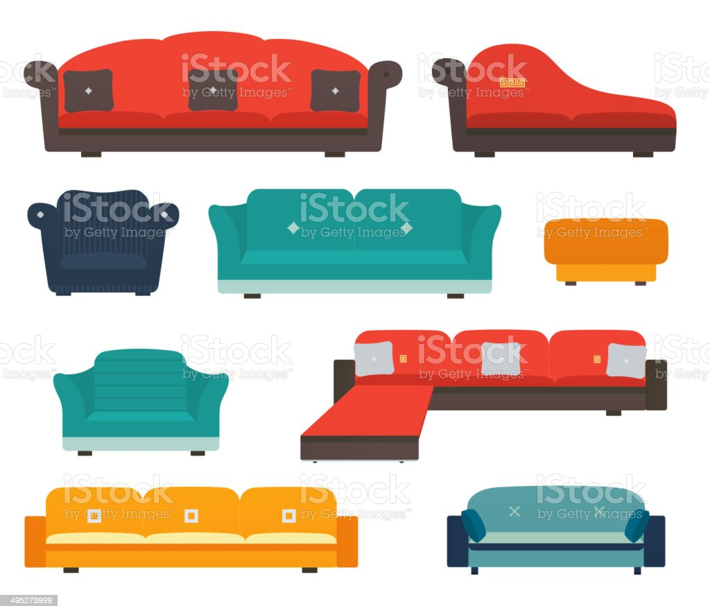Armchairs and sofas flat style vector art illustration