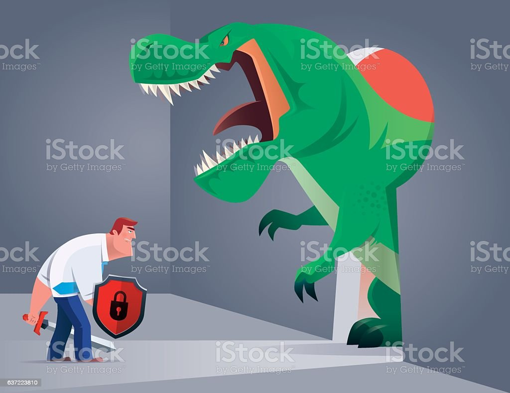 armed businessman fighting against angry dinosaur vector art illustration