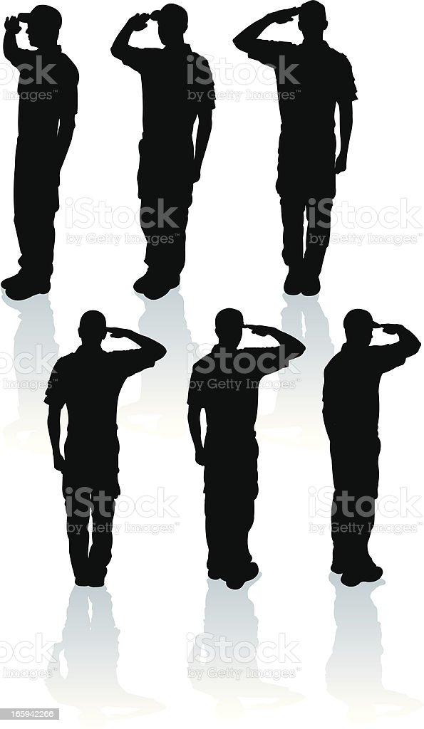Armed Forces Salute - Military Soldier or Boy Scout royalty-free stock vector art