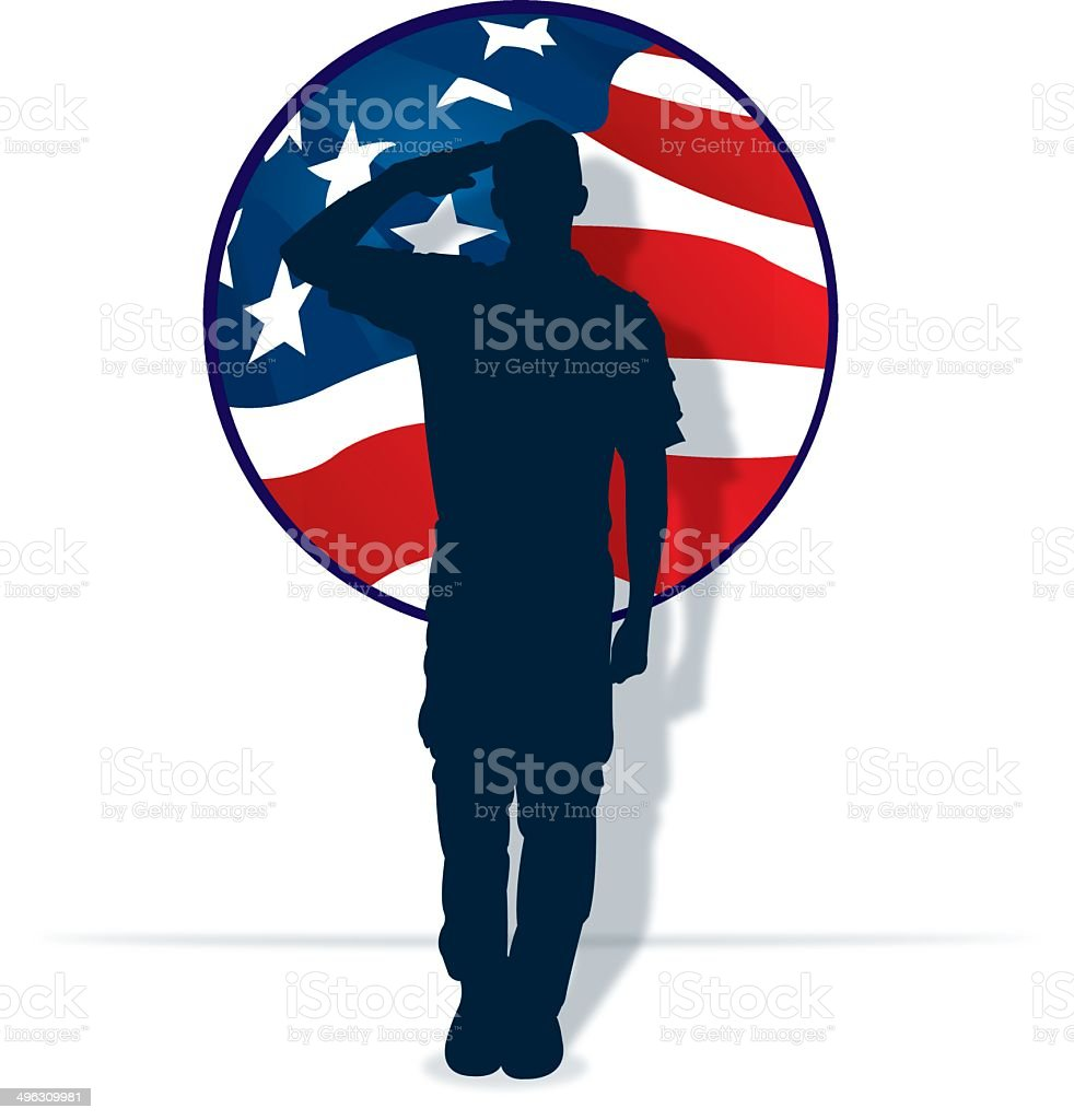 Armed Forces Salute - Military Soldier or Boy Scout vector art illustration