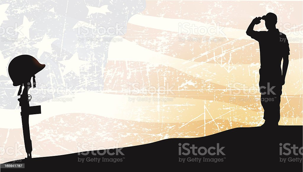 Armed Forces, Soldier Saluting Fallen Comrade, American Flag Background royalty-free stock vector art