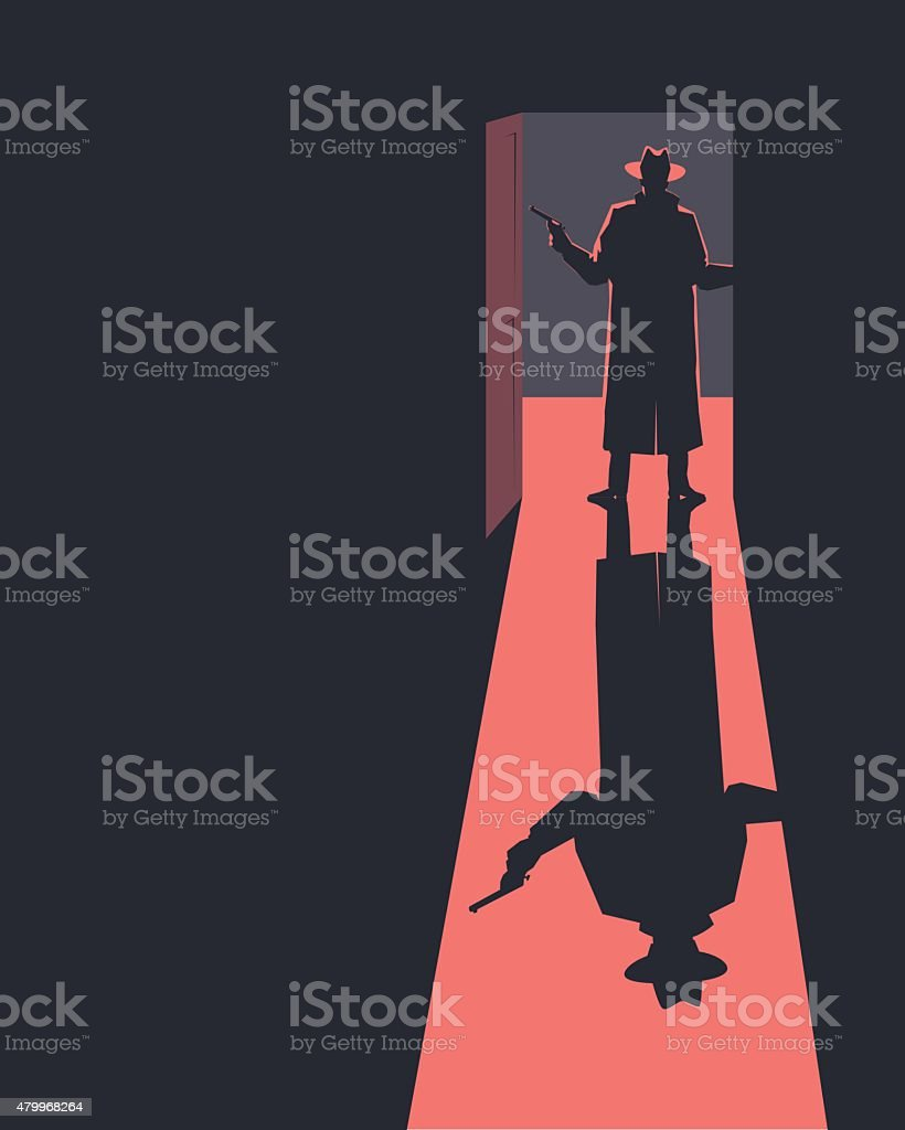Armed man standing in a doorway. Silhouette. vector art illustration