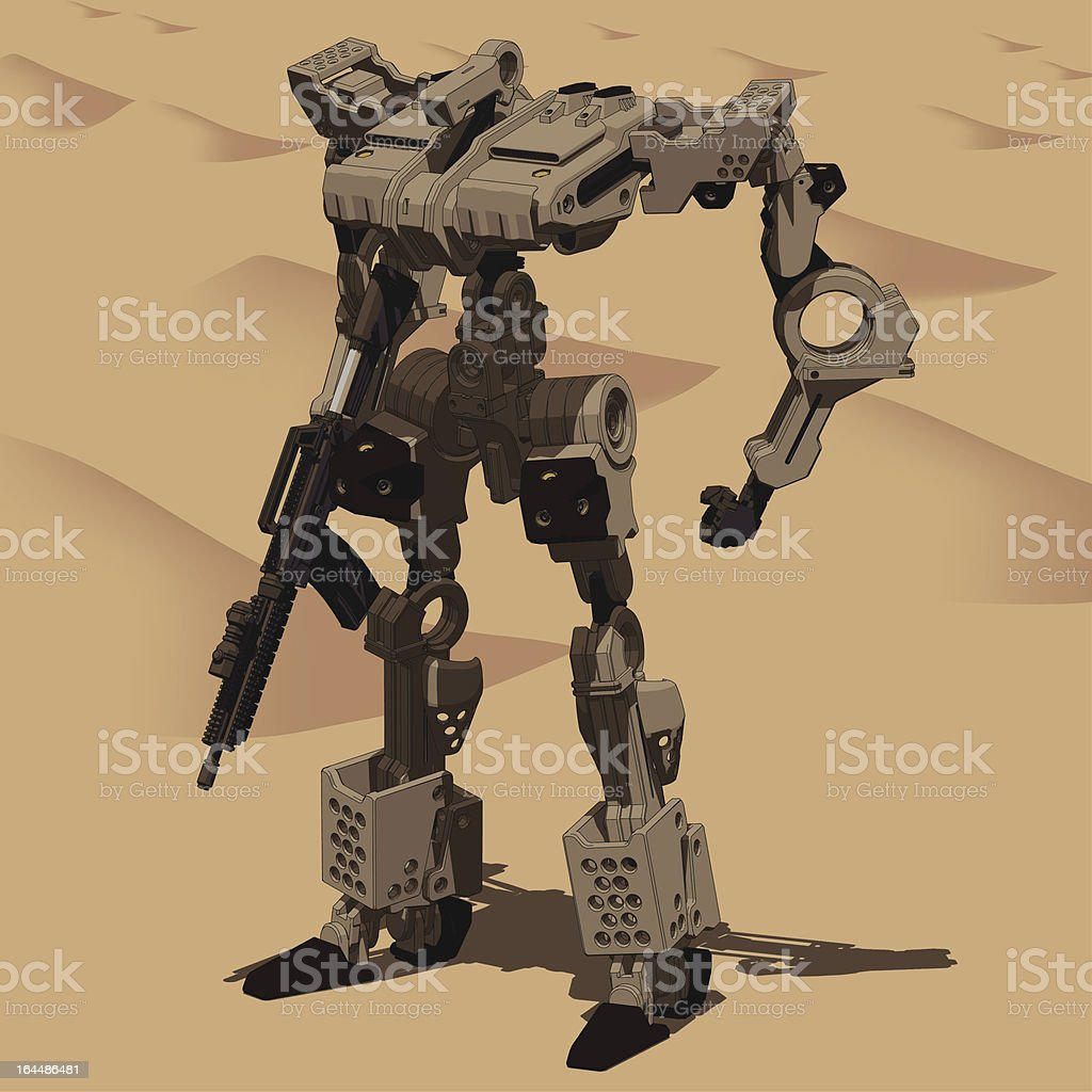Armored Loader for army(with assault rifle)[front Left view] vector art illustration
