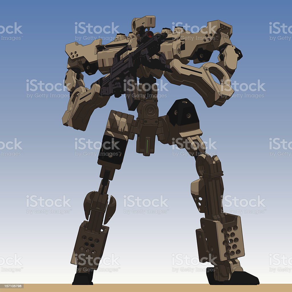 Armored Loader for army(holding assault-rifle)[front low view] royalty-free stock vector art