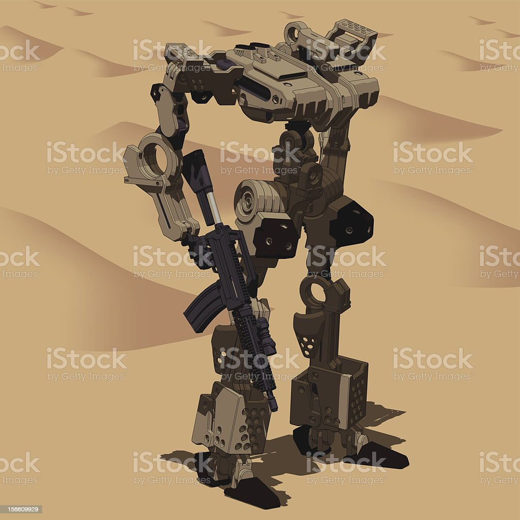 Armored  Loader for army(with assault rifle)[front right view] royalty-free stock vector art